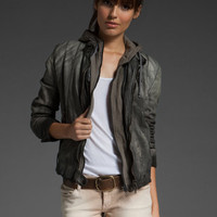 SWORD Avio Hooded Leather Jacket in Grey at Revolve Clothing - Free Shipping!