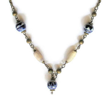 Blue And White Delft Bead Necklace On Antique Brass Rope Adjustable Chain, Boho Tribal Jewelry