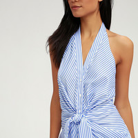 Modern Voyage Blue and White Tie-Front Top