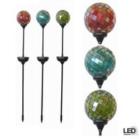 Hampton Bay Mosaic Outdoor Multi-Colored LED Solar Gazing Globe (3-Pack)-49518-100AS at The Home Depot