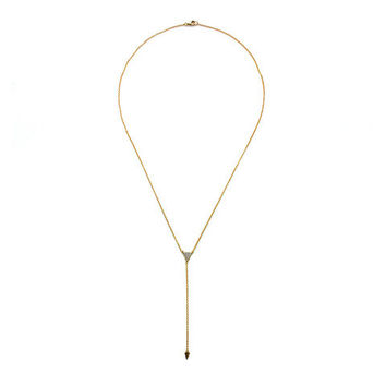 Pave Triangle Necklace in Gold