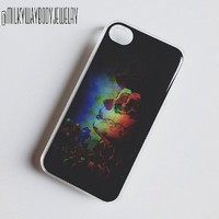 CLEAR Snap On Hard Case IPHONE 4 4S Plastic Skin Cover -3D LIKE SUGAR SKULL TATTOOED GIRL day of the dead blurred artistic