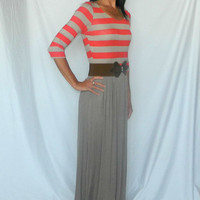 Coral and Mocha Striped Maxi Dress with Belt