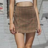 Autumn wild women's new BM high waist double split plaid skirt
