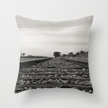 Train Tracks Throw Pillow Cover Train Photography Print Polyester Cushion Cover Black and White Fine Art Outdoor Photo