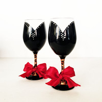 I'm So fancy wine glass set  - leopard stem - red wired ribbon - 20 oz