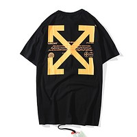 Off White New fashion letter cross arrow print couple top t-shirt Black