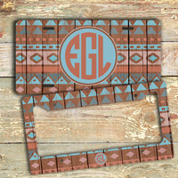 Monogrammed car tag license plate or frame - Wood pattern car tag turquoise coral - Aztec wood grain car tag, bicycle license plate (1256)