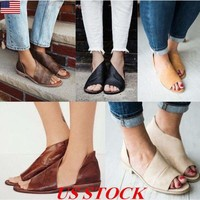 US Women Open Peep Toe Side Cut Out Flats Booties Ankle Shoes Sandals Cutout New