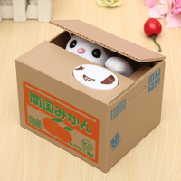 Lovely Creative piggy bank Kitty Cat Steal Money Coin Box Pot Case kids Gift new