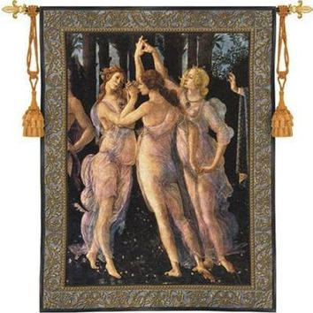 Three Graces by Botticelli Renaissance Painting as Woven Wall Tapestry 53H