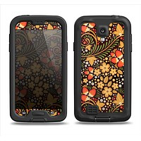 The Colorful Floral Pattern with Strawberries Samsung Galaxy S4 LifeProof Nuud Case Skin Set