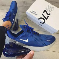 Nike Air Max 270 Fashionable Men Casual Air Cushion Sport Running Shoes Sneakers Blue