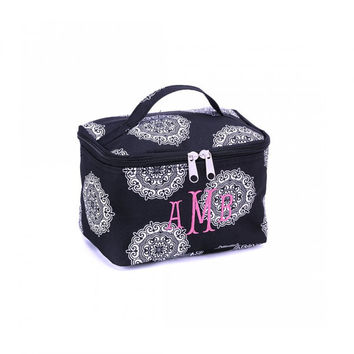 Monogrammed Mini Cosmetic Train Case Black Medallion Maddie