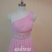 One Shoulder Prom dress,Chiffon Bridesmaid dress,Pink Homecoming dress ,A-line Party gown,Blush Beading Sequins dress Long Formal dress