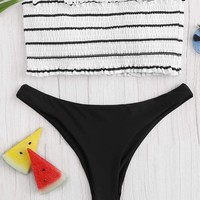 Random Striped Shirred Bandeau With Hipster Bikini