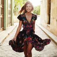 Summer Boho Dress Sexy Print Retro Vintage Dress Tassel Beach Dress Bohemain Hippie Dress Robe Vstidos Mujer -03D24