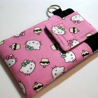 HELLO KITTY CUPCAKES fabric Cell Phone Gadget Pouch case holder  | Nancym4 - Accessories on ArtFire