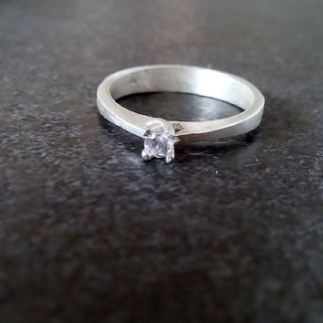 SALE! Small silver ring, engagement simple ring, thin silver band,white topaz ring, clear quartz ring, promise ring
