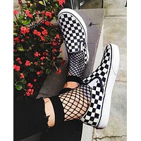 Tiktoki1 Vans Old Skool Classics  Sneaker fun blessing shoe black white tartan