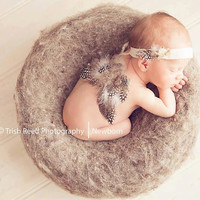 Newborn Photo Prop: Wings Set with Headband Tieback for Newborn Photography - Natural, Organic, Tribal, Feathers
