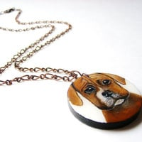Boxer Dog Necklace  - Wooden Pendant Hand Painted Jewelry  - Wearable Art Boxer Puppy Dog Jewelry