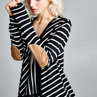 Striped Open Cardigan Sweater