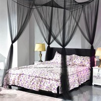 Four-door White/Black Bed Canopy Mosquito Net Queen King Size Netting Bedding Home Decor