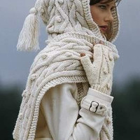 Hand Knitted % 25 Wool HOODED SCARF , cable white cowl - Made to order   PUREWHITEDECO - Knitting on ArtFire
