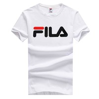 FILA 2018 new chest classic logo printing letters fashion breathable sports short-sleeved T-shirt White