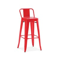 Dreux Glossy Red Low Back Steel Counter Stool 26 Inch (Set of 4)