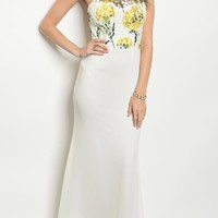 Ivory/Yellow Floral Print Gown