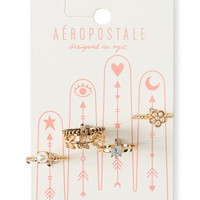 Aeropostale  Faux Pearl Ring 5-Pack - Gold,