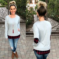Meet You There Buffalo Plaid Elbow Patch Top