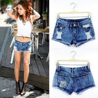 Deep Blue Snowflake Holes Design Denim Short