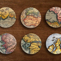 Vintage retro old antique map fridge magnets pin badge buttons