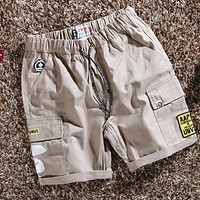 BAPE AAPE Summer Men Women Casual Print Sport Shorts Khaki