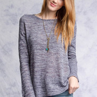 Long Sleeve Knit Top with Lace Contrast