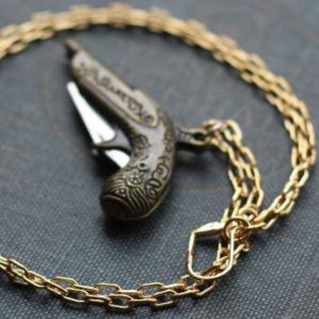 Pistol Gun Pocket Knife Necklace with Free Shipping by contrary