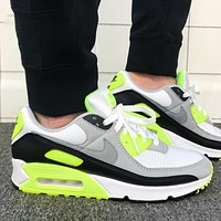 Nike Air Max 90 Fashion Women Men Casual Running Sport Sneakers Shoes Grey&Fluorescent Green