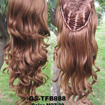 "HOT 3/4 Half Long Curly Wavy Wig Heat Resistant Synthetic Wig Hair 200g 24"" Highlighted Curly Wig Hairpieces with Comb Wig Hair GS-TFB888 M27/30"