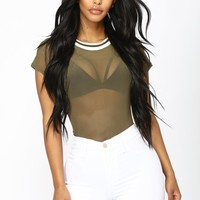 Lost In The Mesh Bodysuit - Olive
