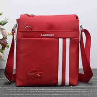 Lacoste Trending Unisex Leisure Stripe Print Satchel Shoulder Bag Crossbody Red I-XS-PJ-BB