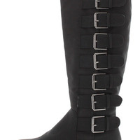 AERIN BLACK PU MULTI BUCKLE KNEE HIGH BOOT