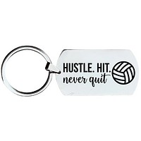 Volleyball Keychain - Hustle Hit Never Quit