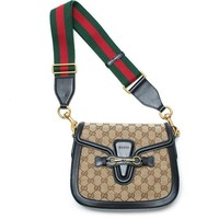 ONETOW Gucci Lady Web GG Signature Authentic Black Leather Red Strap Italy New Bag