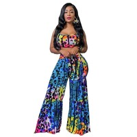 Women Sexy Two Piece Multi-Color Leopard Print Tank Wide Leg Pants