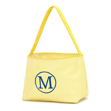 Easter Basket Yellow Mini Stripe Tote Bucket  -  Personalized Monogrammed