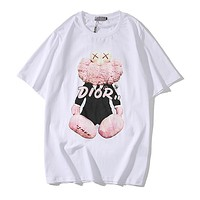 DIOR Fashionable Summer Women Men Casual Cute Print T-Shirt Top White