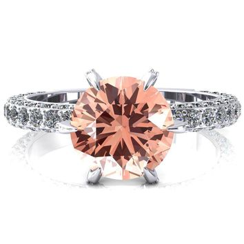 Vanessa Round Champagne Sapphire 6 Claw Prongs 3/4 Pavé Eternity Engagement Ring